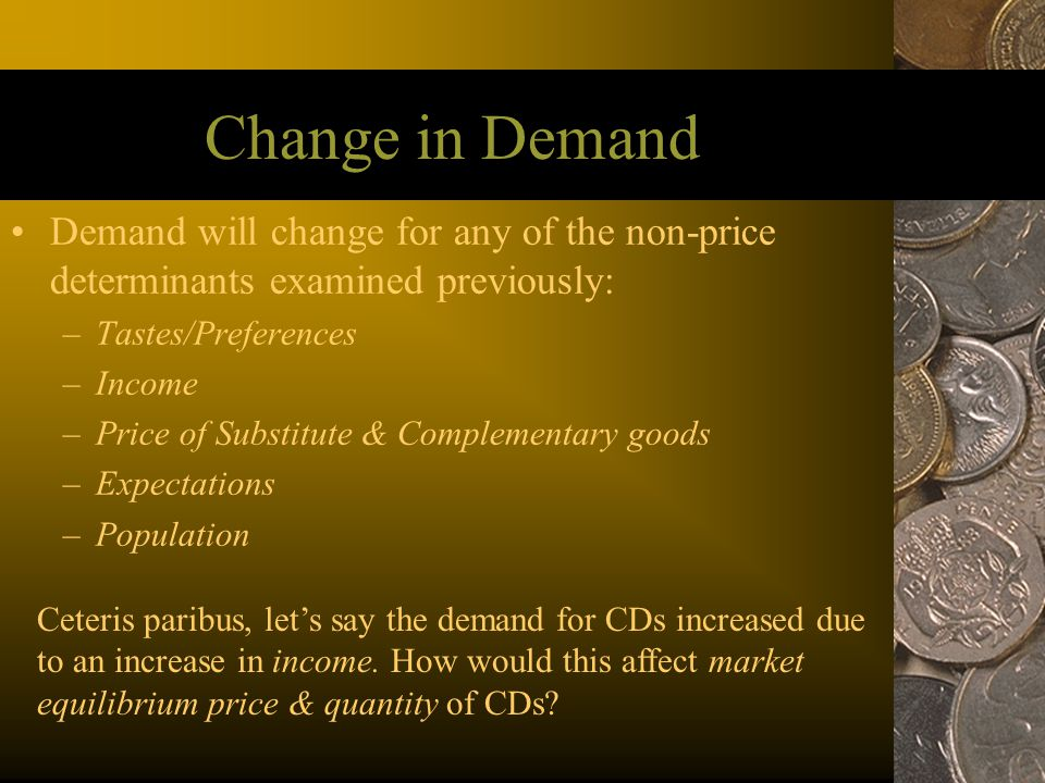 Change in Demand Demand will change for any of the non-price determinants examined previously: –Tastes/Preferences –Income –Price of Substitute & Comp