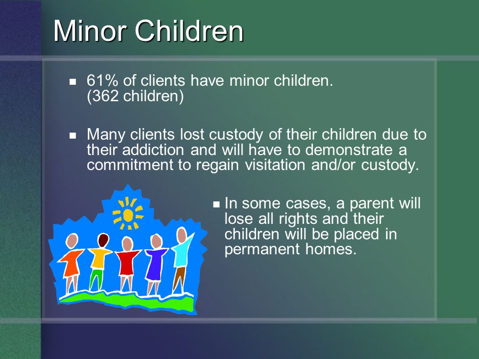 61% of clients have minor children. (362 children) Many clients lost custody of their children due to their addiction and will have to demonstrate a c