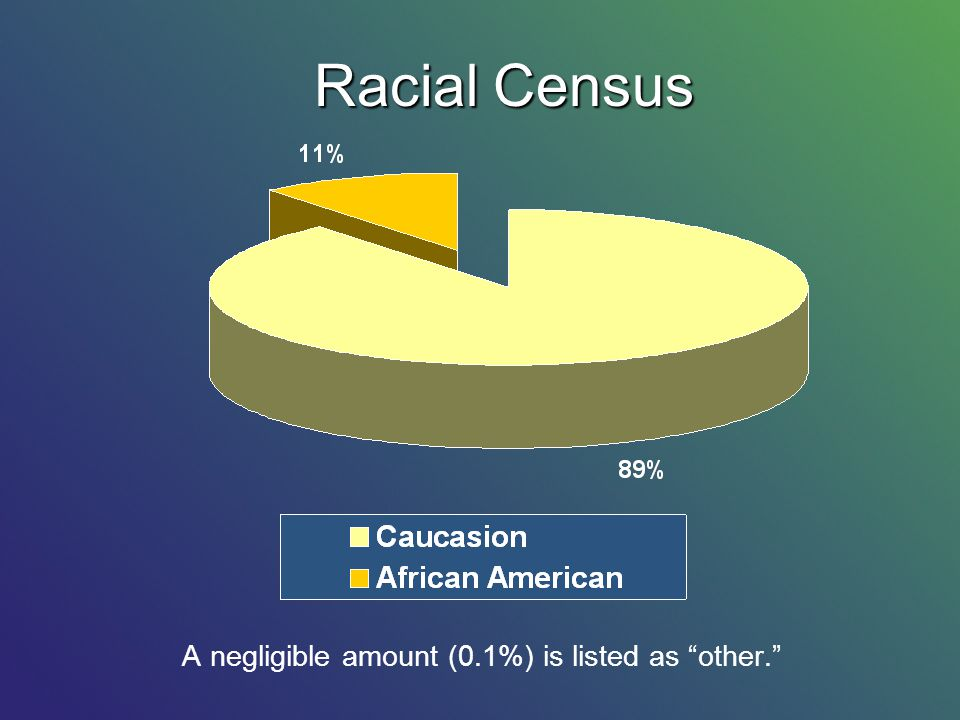 A negligible amount (0.1%) is listed as other. Racial Census