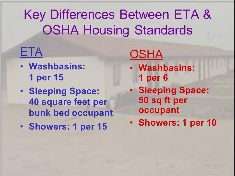 ETA Washbasins: 1 per 15 Sleeping Space: 40 square feet per bunk bed occupant Showers: 1 per 15 OSHA Washbasins: 1 per 6 Sleeping Space: 50 sq ft per occupant Showers: 1 per 10 Key Differences Between ETA & OSHA Housing Standards