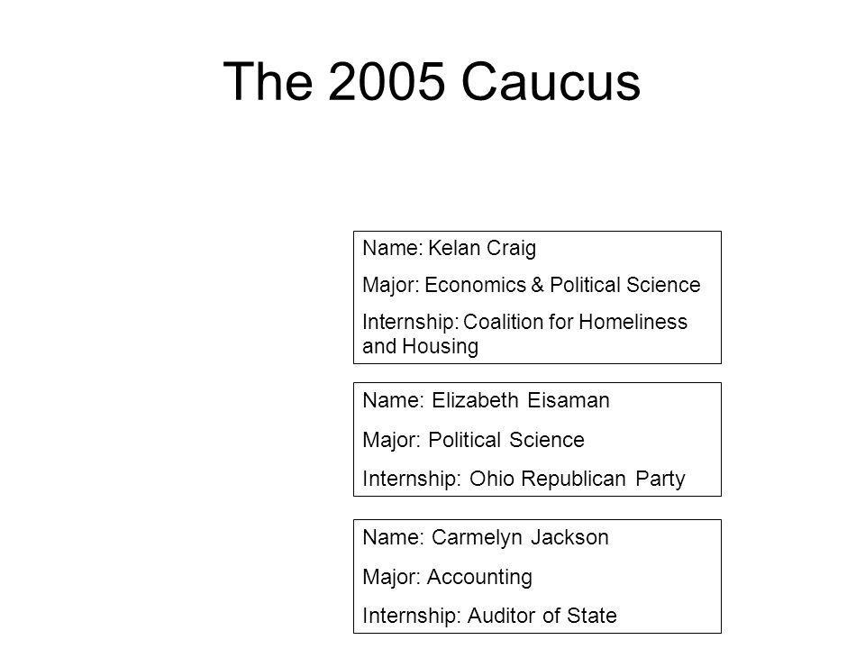 The 2005 Caucus Name: Kelan Craig Major: Economics & Political Science Internship: Coalition for Homeliness and Housing Name: Elizabeth Eisaman Major: