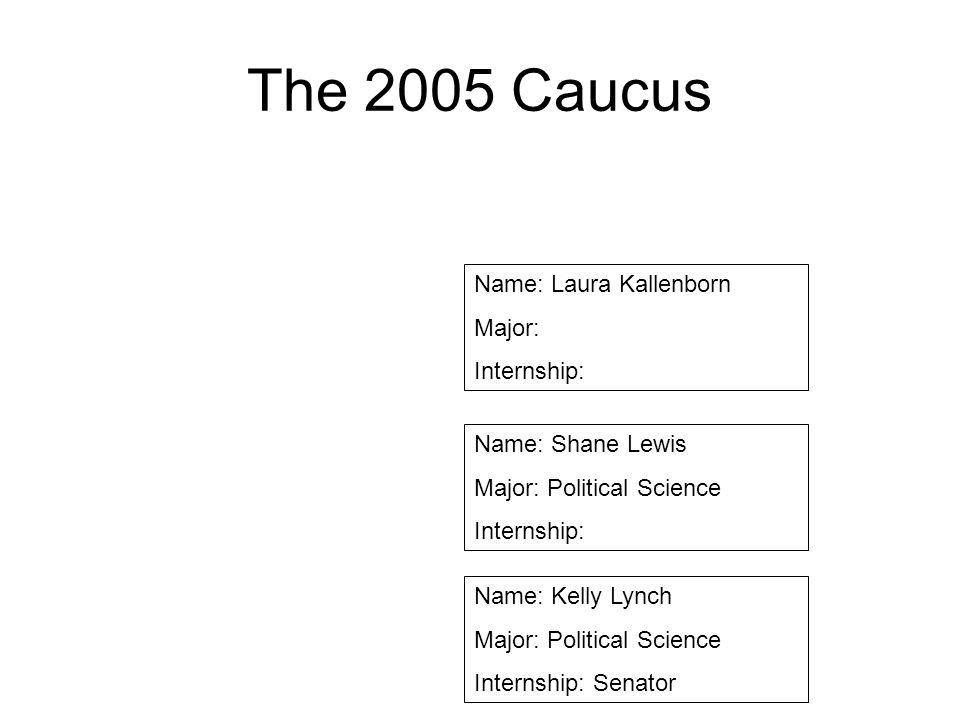 The 2005 Caucus Name: Laura Kallenborn Major: Internship: Name: Shane Lewis Major: Political Science Internship: Name: Kelly Lynch Major: Political Sc