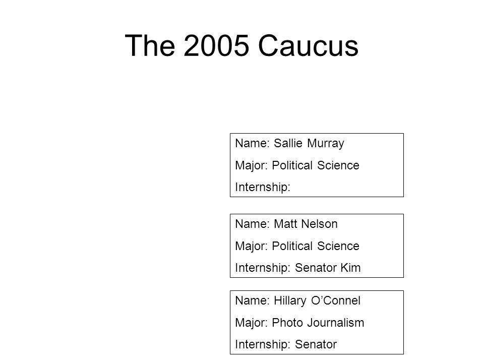 The 2005 Caucus Name: Sallie Murray Major: Political Science Internship: Name: Matt Nelson Major: Political Science Internship: Senator Kim Name: Hill