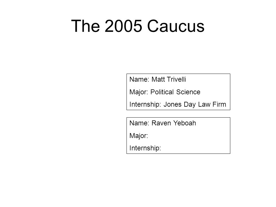 The 2005 Caucus Name: Matt Trivelli Major: Political Science Internship: Jones Day Law Firm Name: Raven Yeboah Major: Internship: