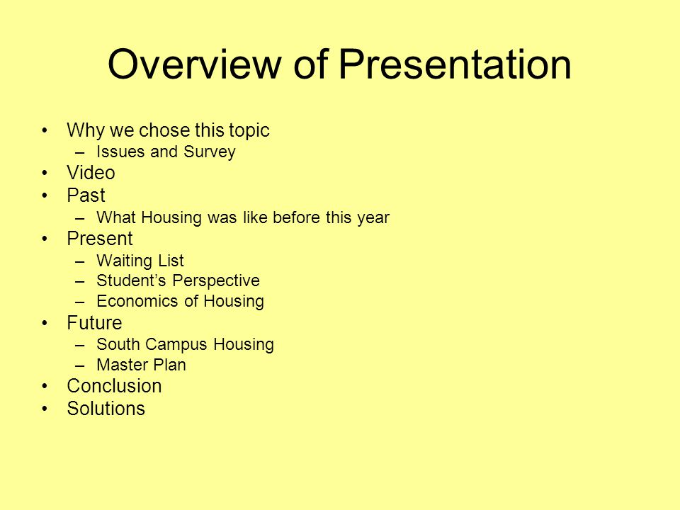 Overview of Presentation Why we chose this topic –Issues and Survey Video Past –What Housing was like before this year Present –Waiting List –Students