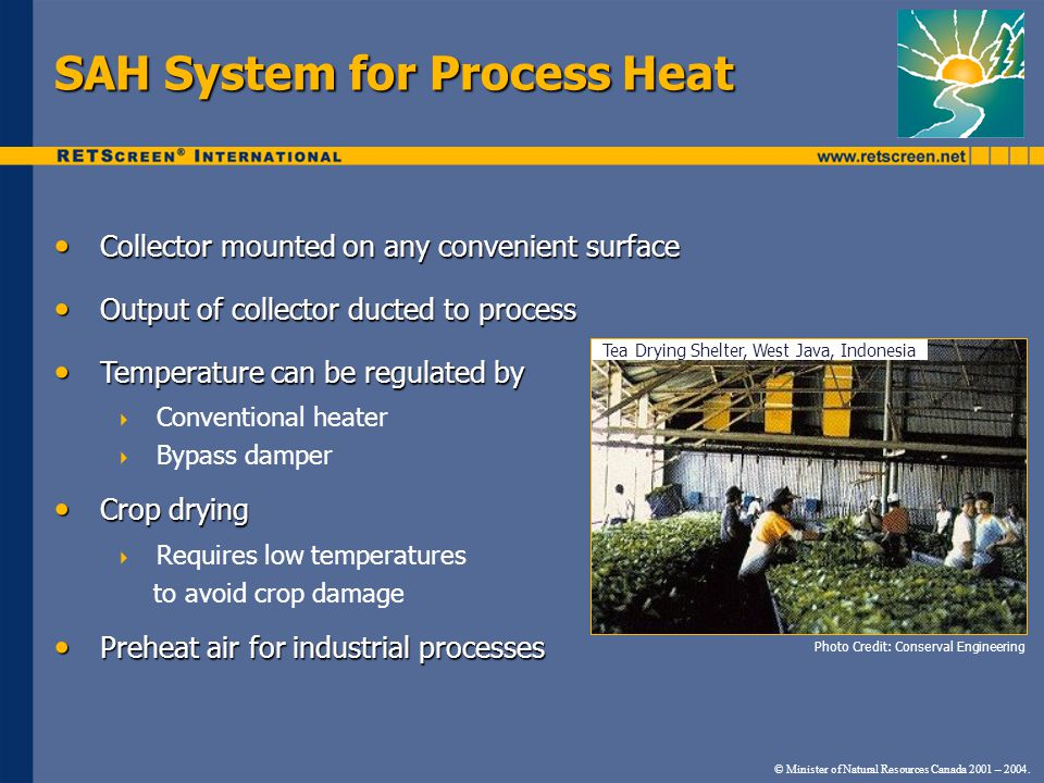 SAH System for Process Heat Collector mounted on any convenient surface Collector mounted on any convenient surface Output of collector ducted to process Output of collector ducted to process Temperature can be regulated by Temperature can be regulated by Conventional heater Bypass damper Crop drying Crop drying Requires low temperatures to avoid crop damage Preheat air for industrial processes Preheat air for industrial processes Photo Credit: Conserval Engineering © Minister of Natural Resources Canada 2001 – 2004.