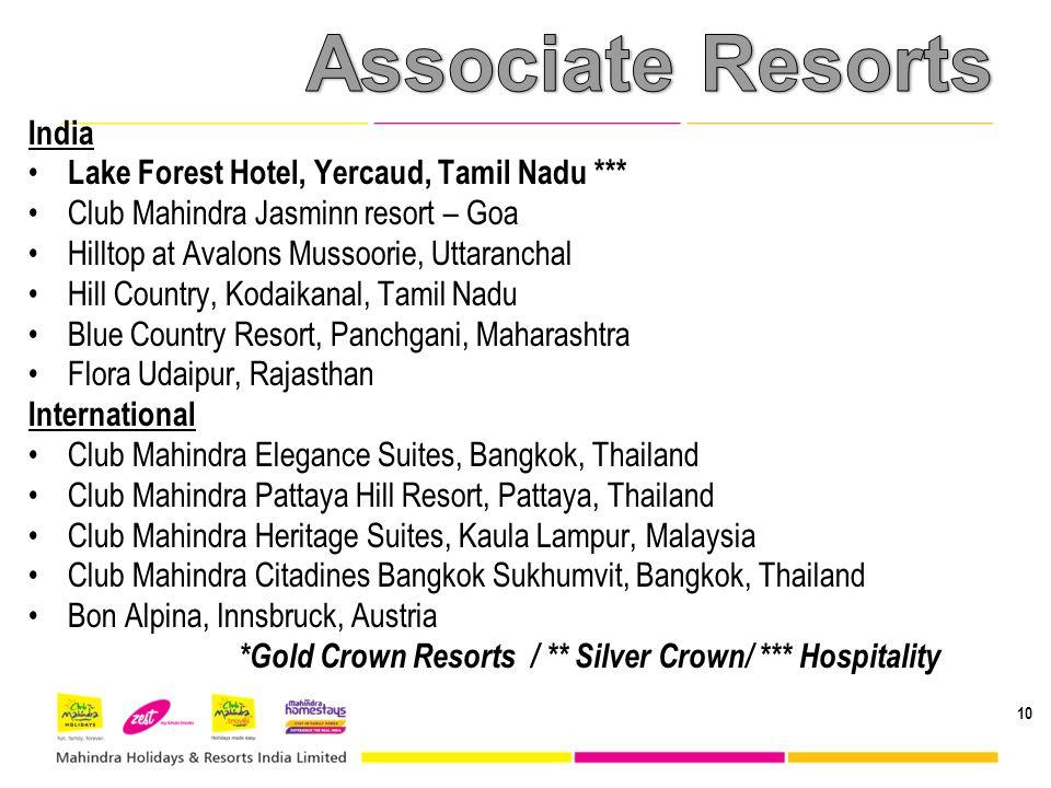 10 India Lake Forest Hotel, Yercaud, Tamil Nadu *** Club Mahindra Jasminn resort – Goa Hilltop at Avalons Mussoorie, Uttaranchal Hill Country, Kodaika