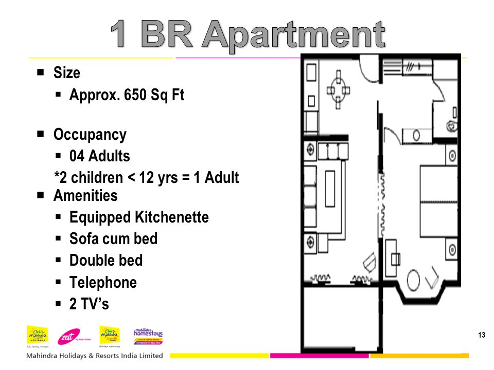 Size Approx. 650 Sq Ft Occupancy 04 Adults *2 children < 12 yrs = 1 Adult Amenities Equipped Kitchenette Sofa cum bed Double bed Telephone 2 TVs 13