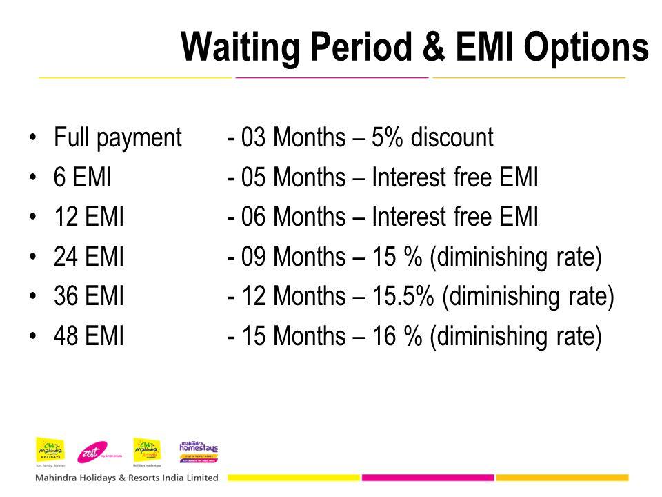 Waiting Period & EMI Options Full payment- 03 Months – 5% discount 6 EMI - 05 Months – Interest free EMI 12 EMI - 06 Months – Interest free EMI 24 EMI - 09 Months – 15 % (diminishing rate) 36 EMI - 12 Months – 15.5% (diminishing rate) 48 EMI - 15 Months – 16 % (diminishing rate)