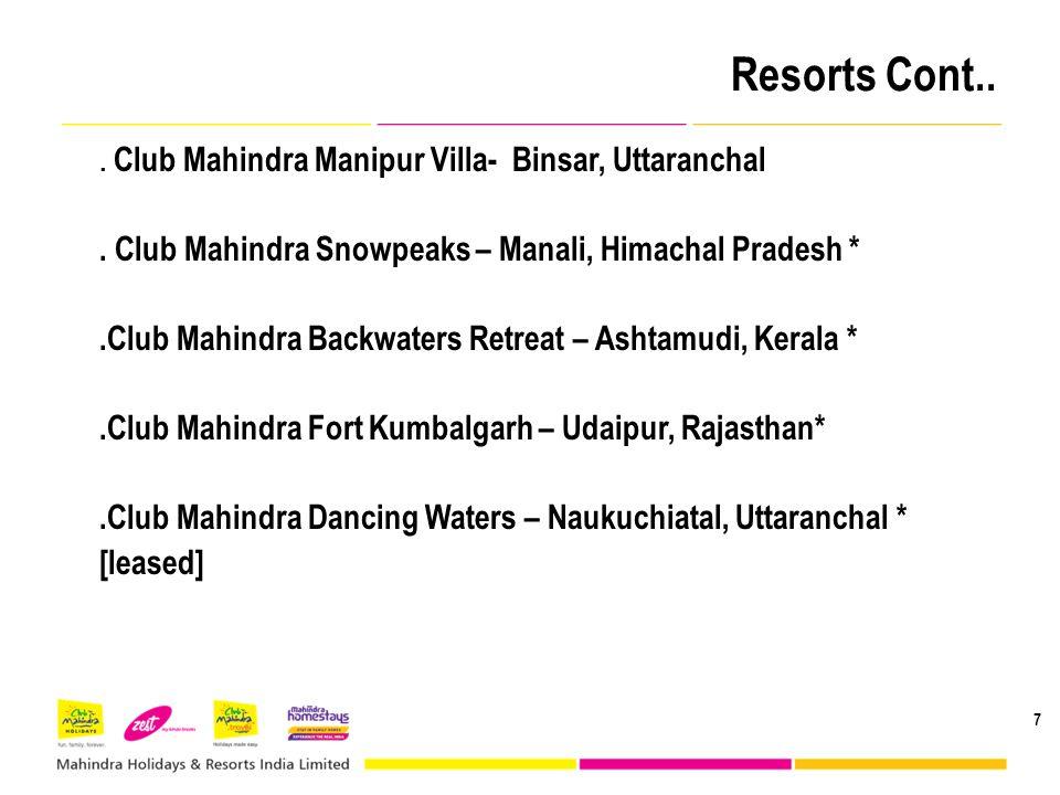 Resorts Cont.. 7. Club Mahindra Manipur Villa- Binsar, Uttaranchal. Club Mahindra Snowpeaks – Manali, Himachal Pradesh *.Club Mahindra Backwaters Retr
