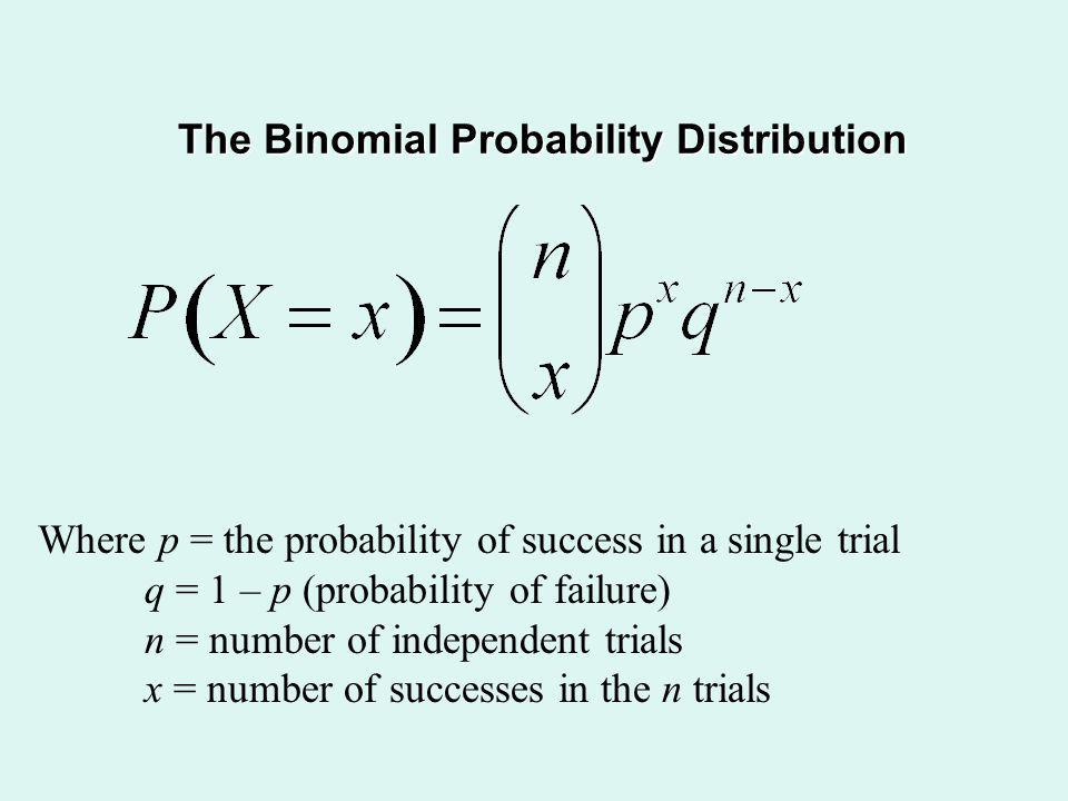 The Binomial Probability Distribution Where p = the probability of success in a single trial q = 1 – p (probability of failure) n = number of independ