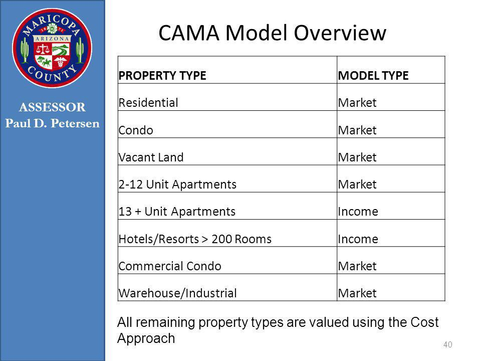 CAMA Model Overview 40 All remaining property types are valued using the Cost Approach ASSESSOR Paul D.