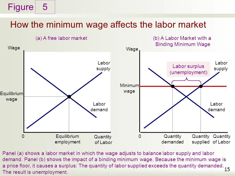 Figure How the minimum wage affects the labor market 5 15 Wage Quantity of Labor 0 Labor demand Equilibrium employment (a) A free labor market Panel (
