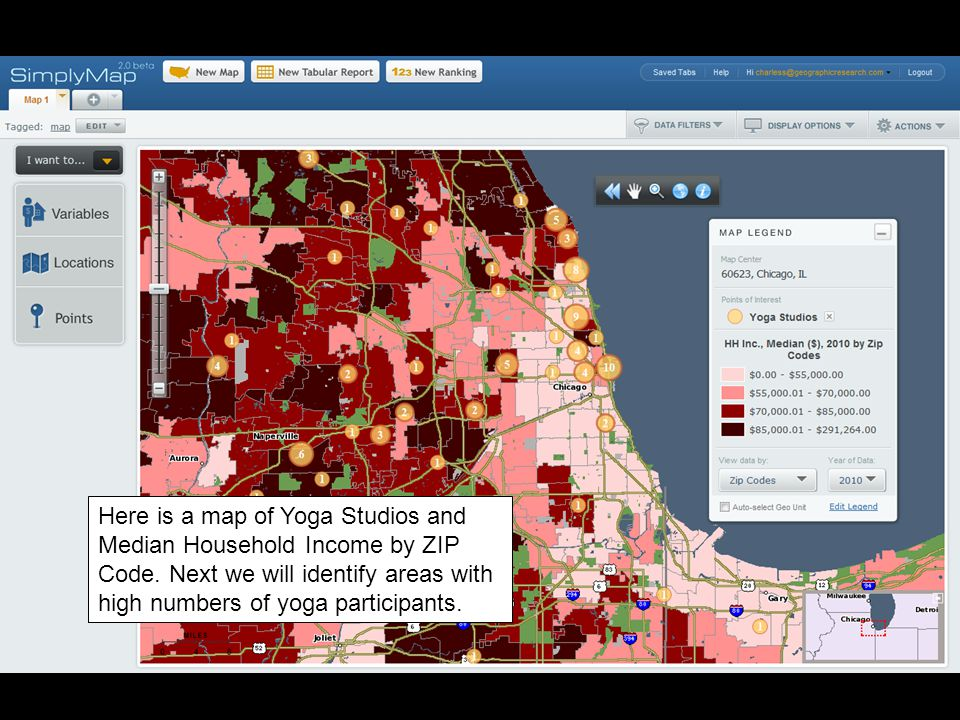 Here is a map of Yoga Studios and Median Household Income by ZIP Code.