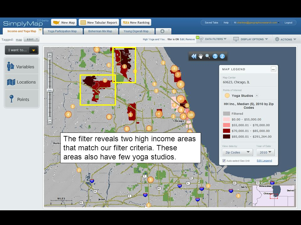 The filter reveals two high income areas that match our filter criteria.
