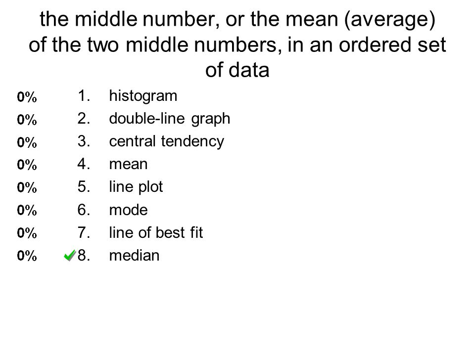 the middle number, or the mean (average) of the two middle numbers, in an ordered set of data 1.histogram 2.double-line graph 3.central tendency 4.mea