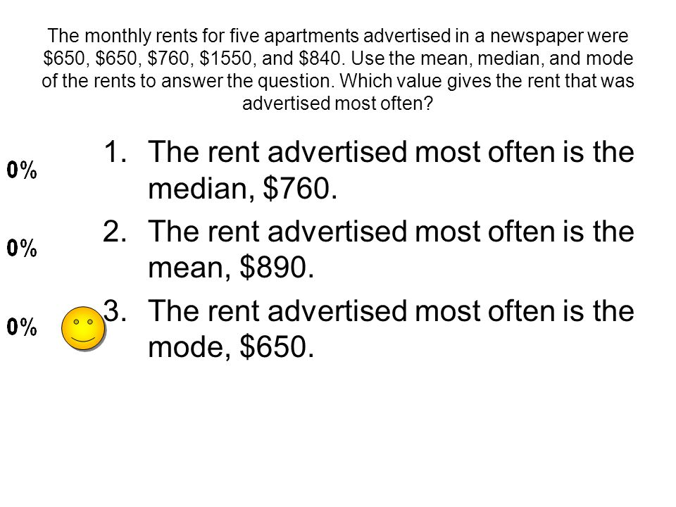 The monthly rents for five apartments advertised in a newspaper were $650, $650, $760, $1550, and $840. Use the mean, median, and mode of the rents to