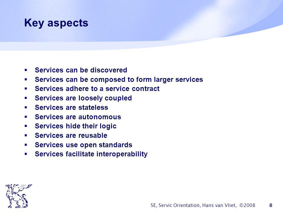 SE, Servic Orientation, Hans van Vliet, ©2008 9 Service discovery Service registry Service provider Service requestor lookup bind publish