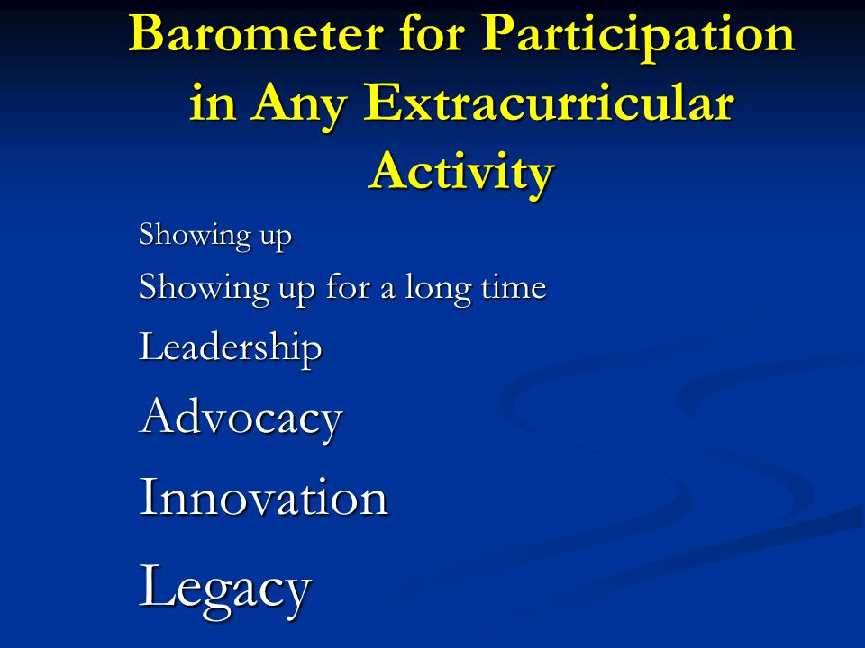 Barometer for Participation in Any Extracurricular Activity Showing up Showing up for a long time LeadershipAdvocacyInnovationLegacy