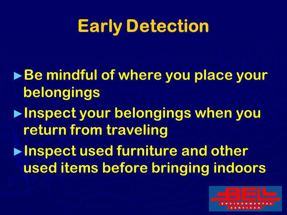 31 Early Detection Be mindful of where you place your belongings Inspect your belongings when you return from traveling Inspect used furniture and oth