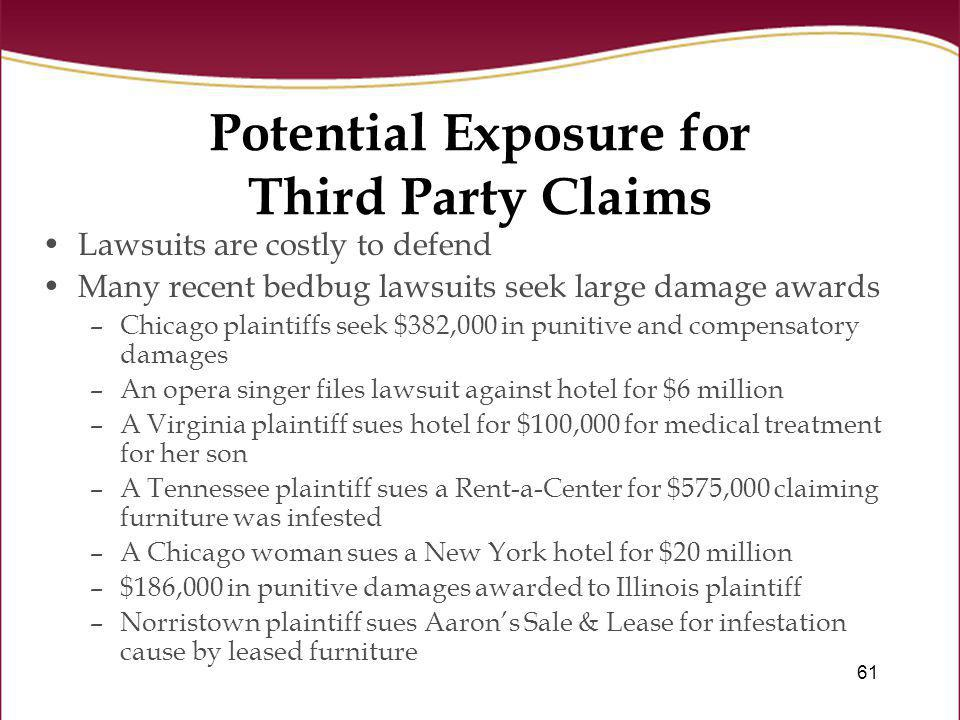 61 Potential Exposure for Third Party Claims Lawsuits are costly to defend Many recent bedbug lawsuits seek large damage awards –Chicago plaintiffs se