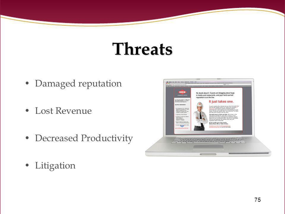 75 Threats Damaged reputation Lost Revenue Decreased Productivity Litigation