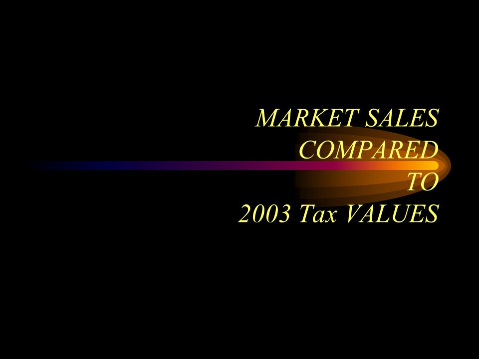 MARKET SALES COMPARED TO 2003 Tax VALUES