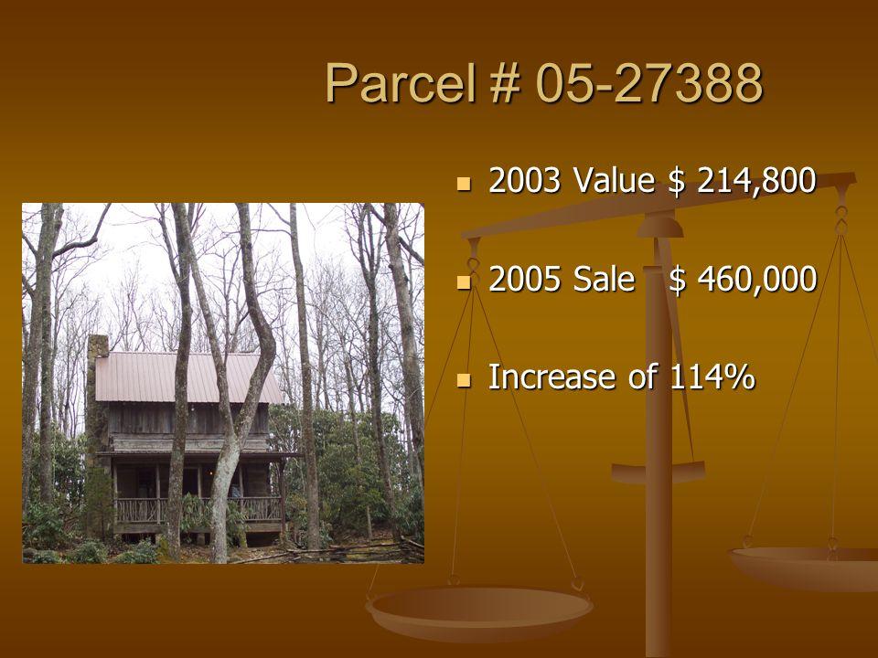 Parcel # 05-27388 Parcel # 05-27388 2003 Value $ 214,800 2005 Sale $ 460,000 Increase of 114%