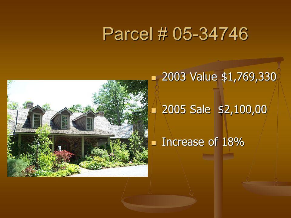 Parcel # 05-34746 Parcel # 05-34746 2003 Value $1,769,330 2005 Sale $2,100,00 Increase of 18%