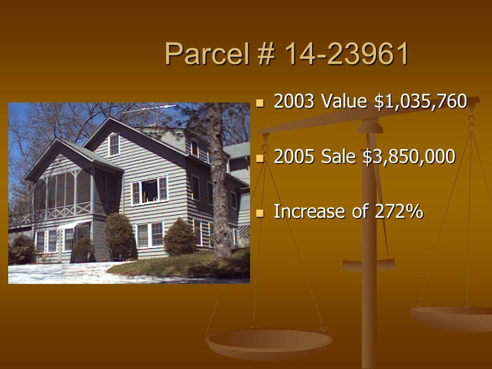 Parcel # 14-23961 Parcel # 14-23961 2003 Value $1,035,760 2005 Sale $3,850,000 Increase of 272%