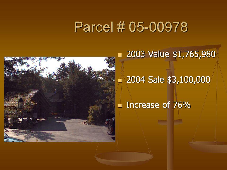Parcel # 05-00978 Parcel # 05-00978 2003 Value $1,765,980 2004 Sale $3,100,000 Increase of 76%