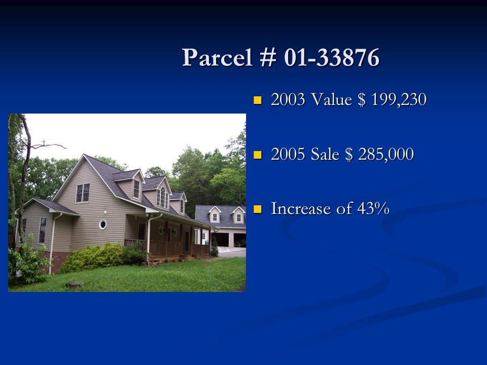 Parcel # 01-33876 Parcel # 01-33876 2003 Value $ 199,230 2005 Sale $ 285,000 Increase of 43%
