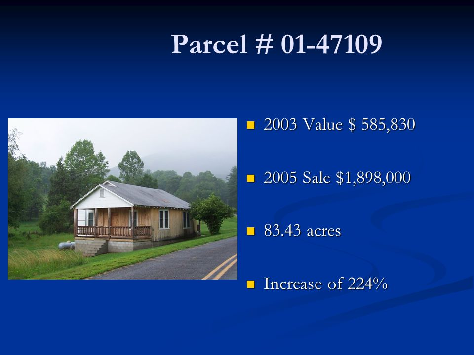 Parcel # 01-47109 2003 Value $ 585,830 2005 Sale $1,898,000 83.43 acres Increase of 224%