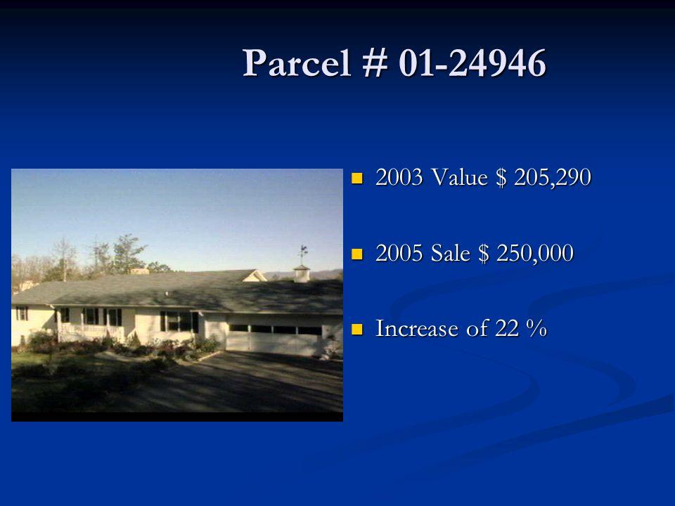 Parcel # 01-24946 Parcel # 01-24946 2003 Value $ 205,290 2005 Sale $ 250,000 Increase of 22 %