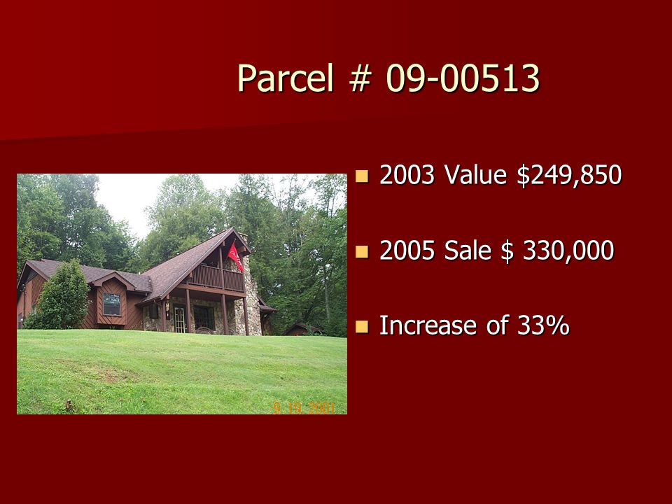 Parcel # 09-00513 Parcel # 09-00513 2003 Value $249,850 2003 Value $249,850 2005 Sale $ 330,000 2005 Sale $ 330,000 Increase of 33% Increase of 33%