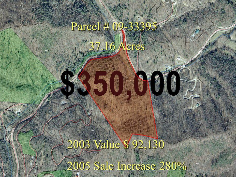 Parcel # 09-33395 2003 Value $ 92,130 2005 Sale Increase 280% 37.16 Acres