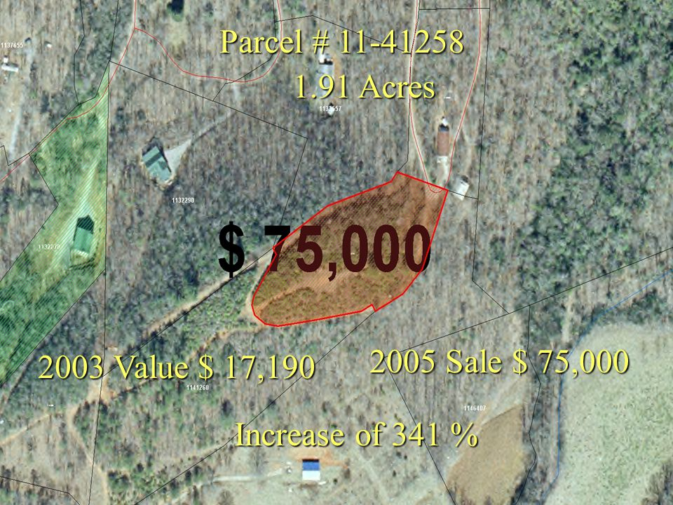 Parcel # 11-41258 2003 Value $ 17,190 2005 Sale $ 75,000 Increase of 341 % 1.91 Acres