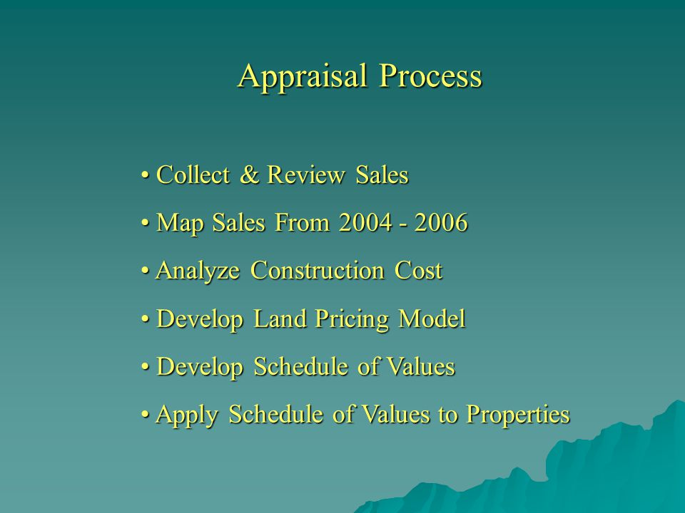 Appraisal Process Collect & Review Sales Map Sales From 2004 - 2006 Analyze Construction Cost Develop Land Pricing Model Develop Schedule of Values Apply Schedule of Values to Properties