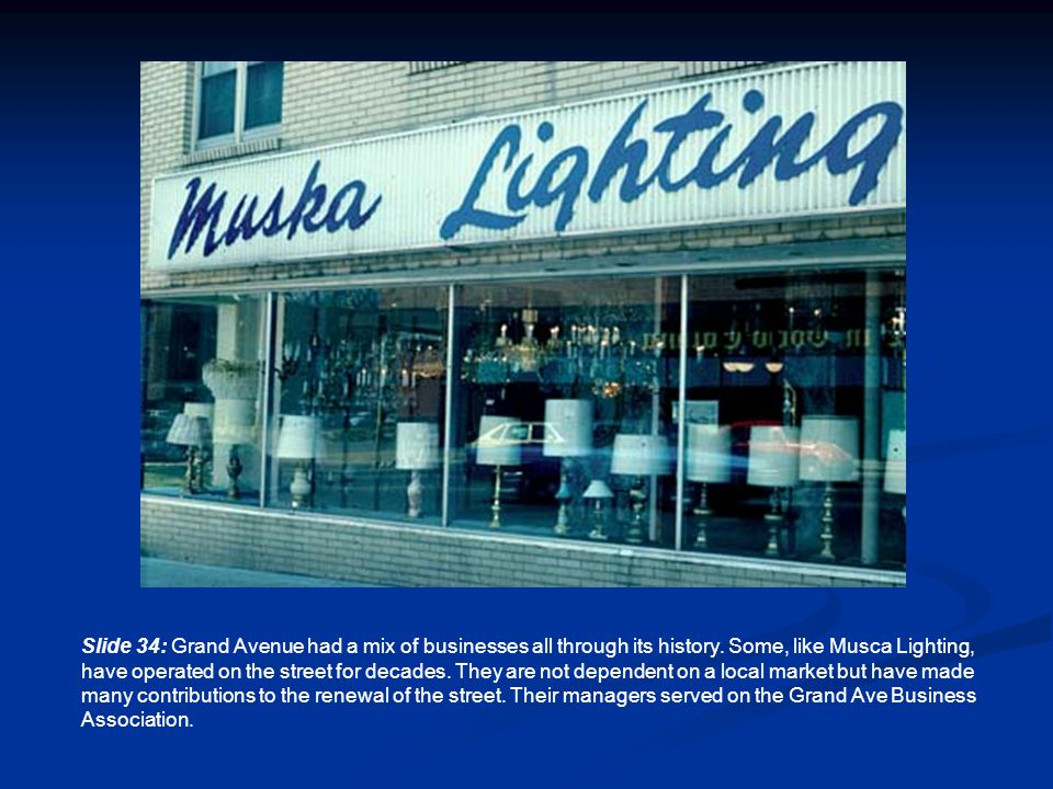 Slide 34: Grand Avenue had a mix of businesses all through its history.