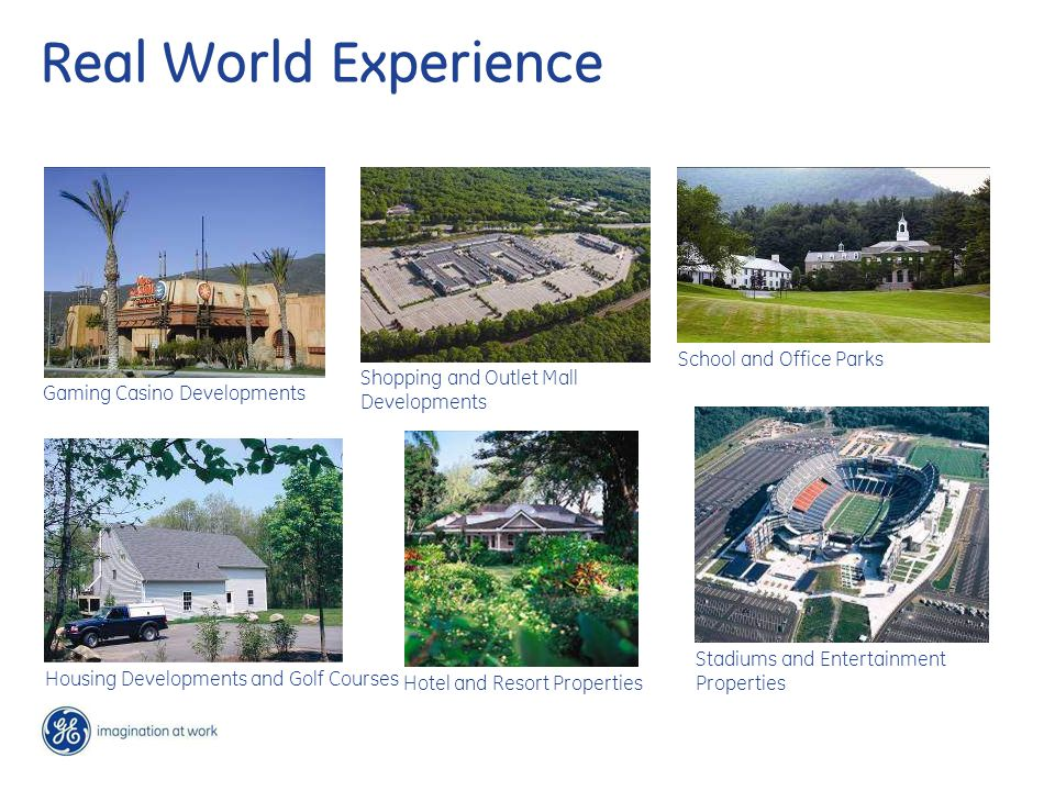 Real World Experience School and Office Parks Stadiums and Entertainment Properties Shopping and Outlet Mall Developments Hotel and Resort Properties Housing Developments and Golf Courses Gaming Casino Developments