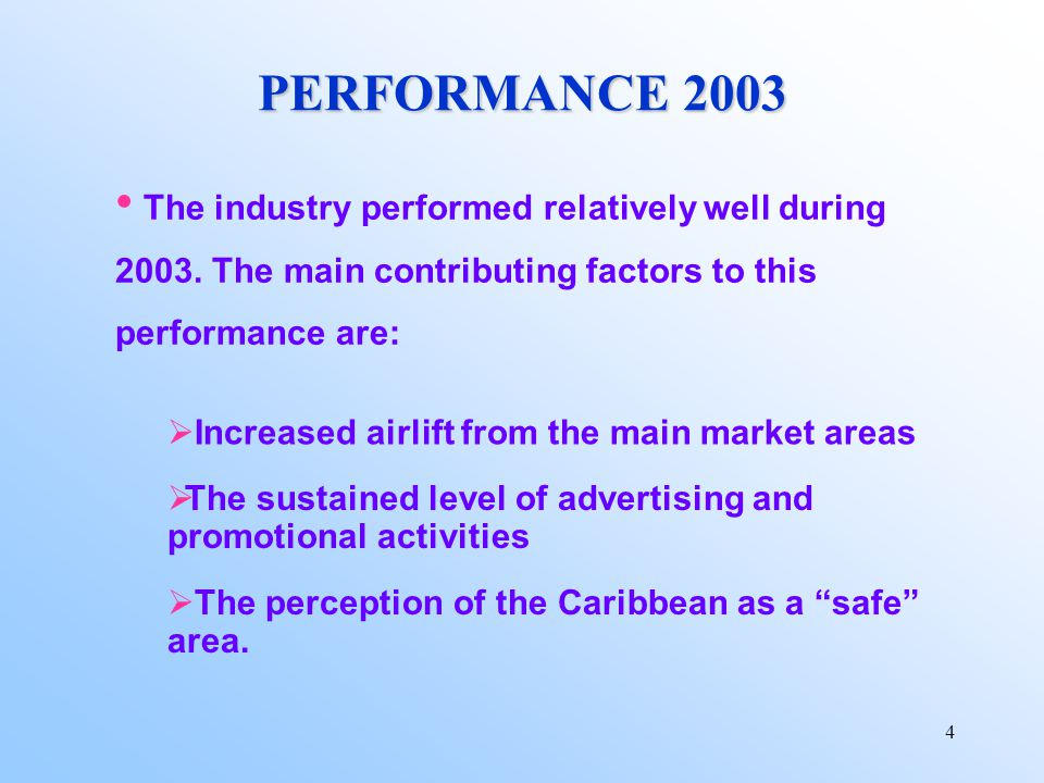 4 PERFORMANCE 2003 The industry performed relatively well during 2003.