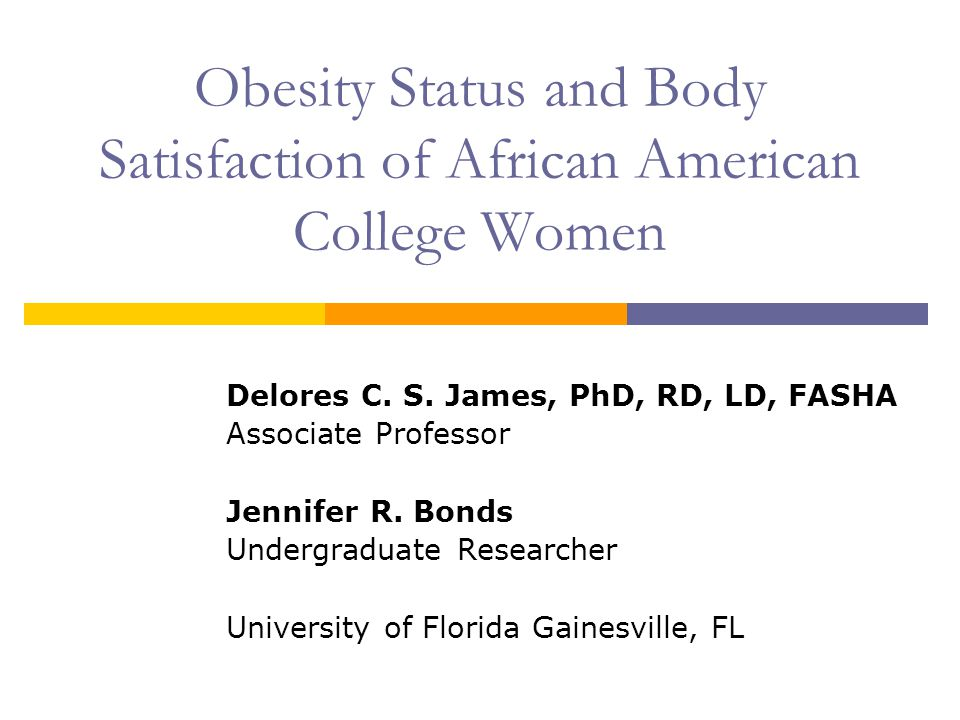 Obesity Status and Body Satisfaction of African American College Women Delores C.