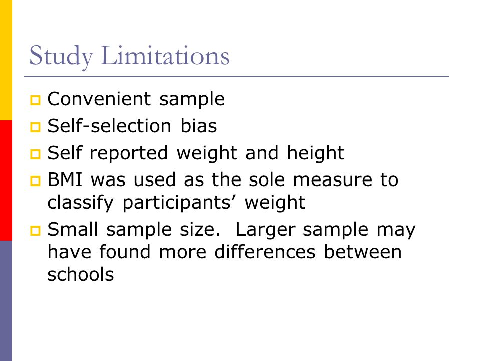 Study Limitations Convenient sample Self-selection bias Self reported weight and height BMI was used as the sole measure to classify participants weight Small sample size.