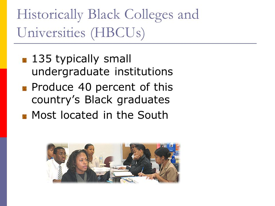 Historically Black Colleges and Universities (HBCUs) 135 typically small undergraduate institutions Produce 40 percent of this countrys Black graduates Most located in the South