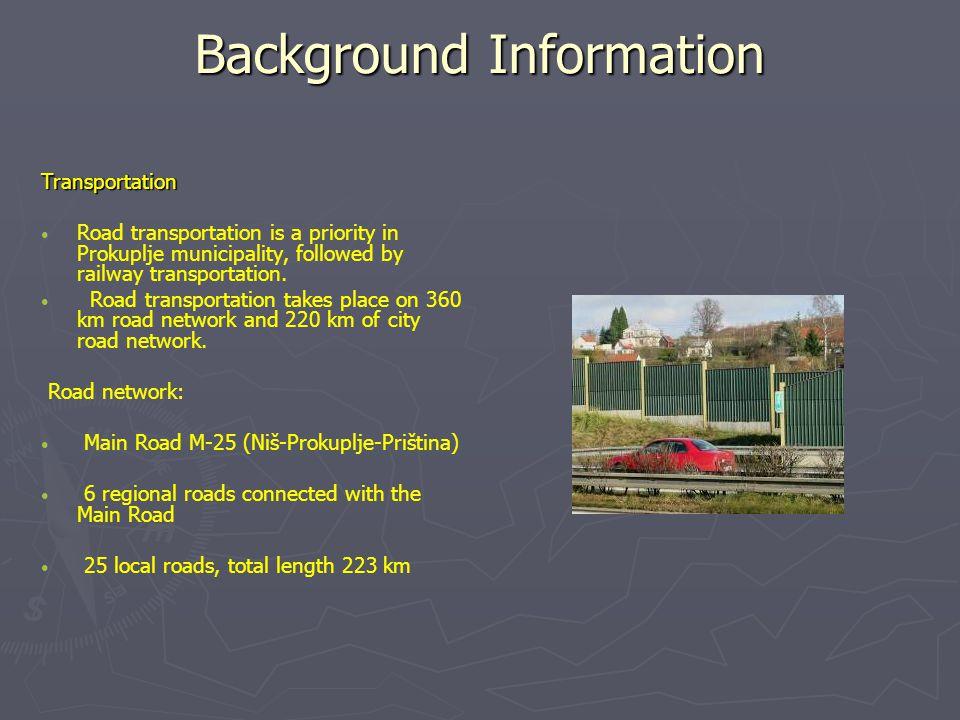 Background Information Transportation Road transportation is a priority in Prokuplje municipality, followed by railway transportation.