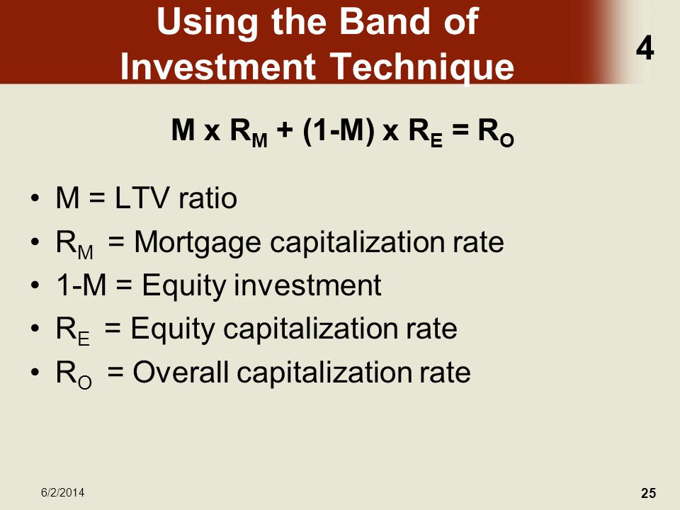 4 6/2/2014 25 Using the Band of Investment Technique M x R M + (1-M) x R E = R O M = LTV ratio R M = Mortgage capitalization rate 1-M = Equity investment R E = Equity capitalization rate R O = Overall capitalization rate