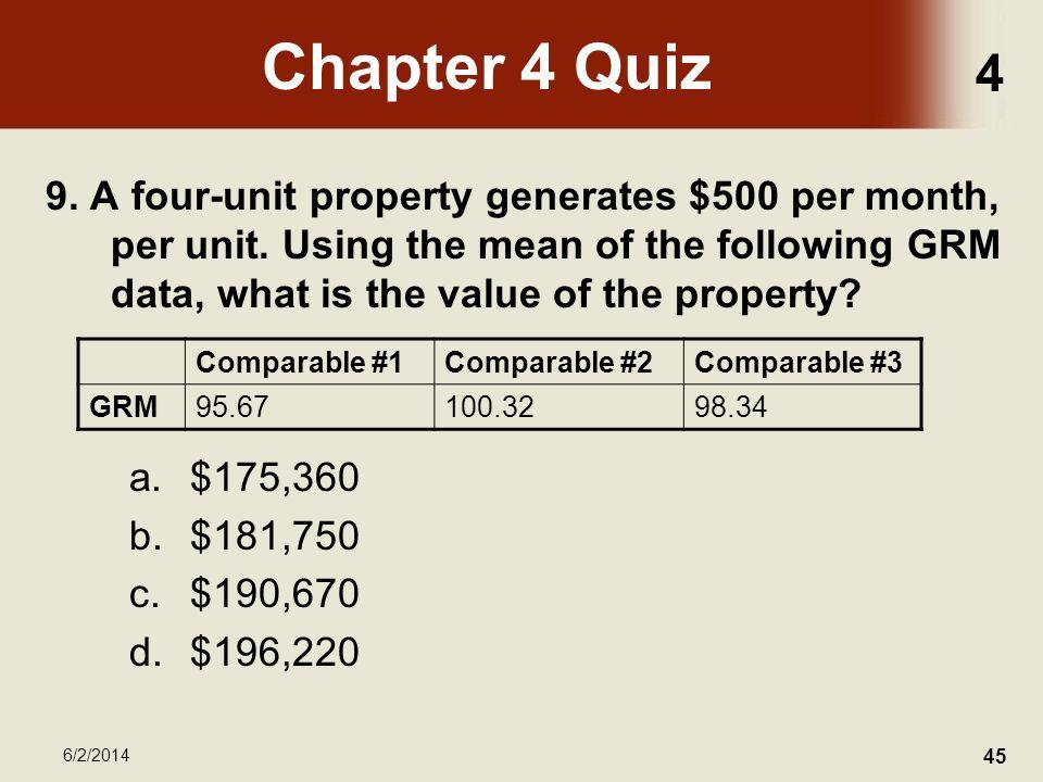 4 6/2/2014 45 Chapter 4 Quiz 9. A four-unit property generates $500 per month, per unit.