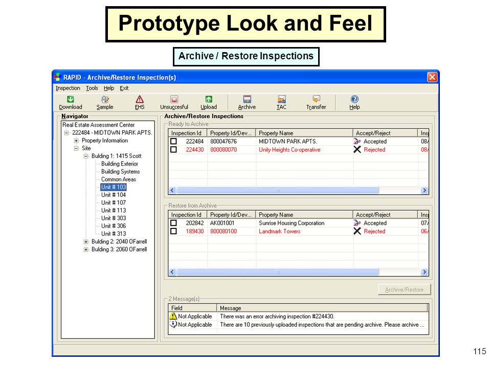115 Archive / Restore Inspections Prototype Look and Feel