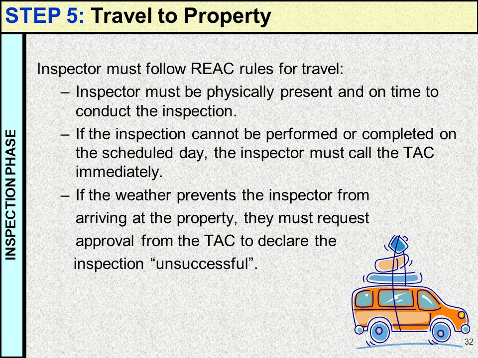 32 Inspector must follow REAC rules for travel: –Inspector must be physically present and on time to conduct the inspection. –If the inspection cannot