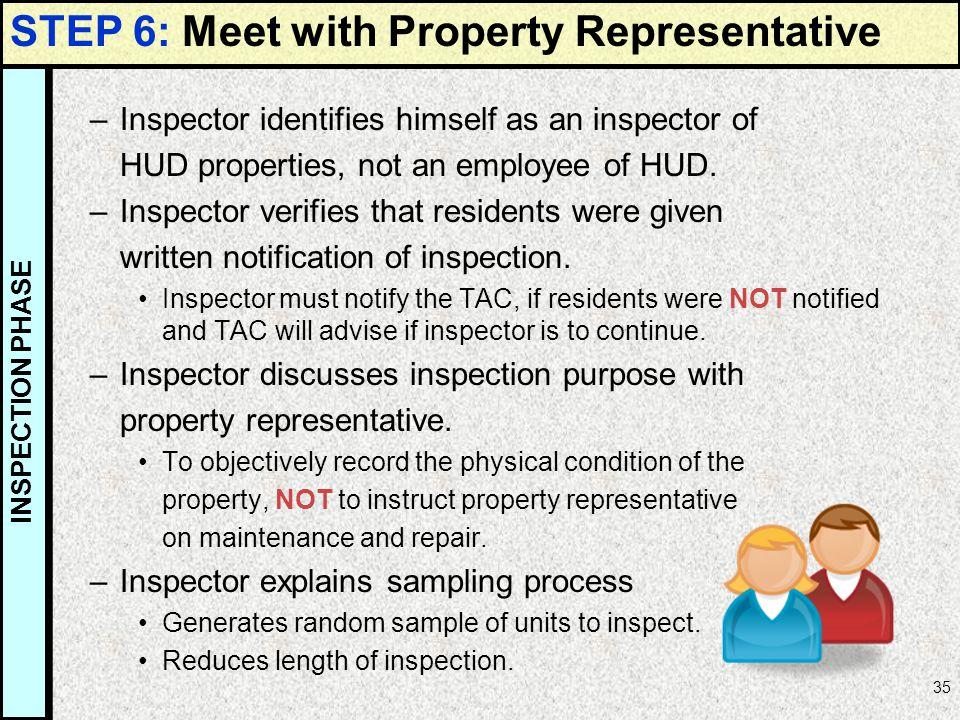 35 –Inspector identifies himself as an inspector of HUD properties, not an employee of HUD. –Inspector verifies that residents were given written noti